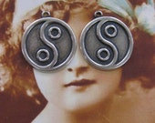 Silver Ox Plated Brass Ying Yang Charms 513SOX x2