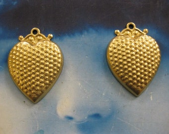 Natural Raw Brass Textured Heart Charm Pendants 2165RAW x2