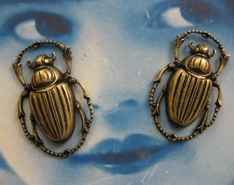 Brass Ox Plated Large  Beetle  Stamping Pendant 820BOX x2