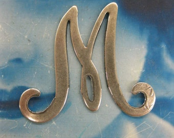 Large Silver Ox Pated Brass Script Initial Letter M 2258SOX  x1
