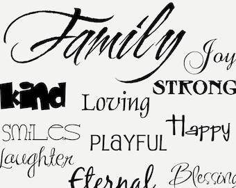 Family . . . vinyl lettering for photo wall