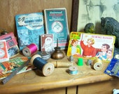 Huge Vintage Sewing Ephemera Lot  Notions Threads NeedleCases Tools