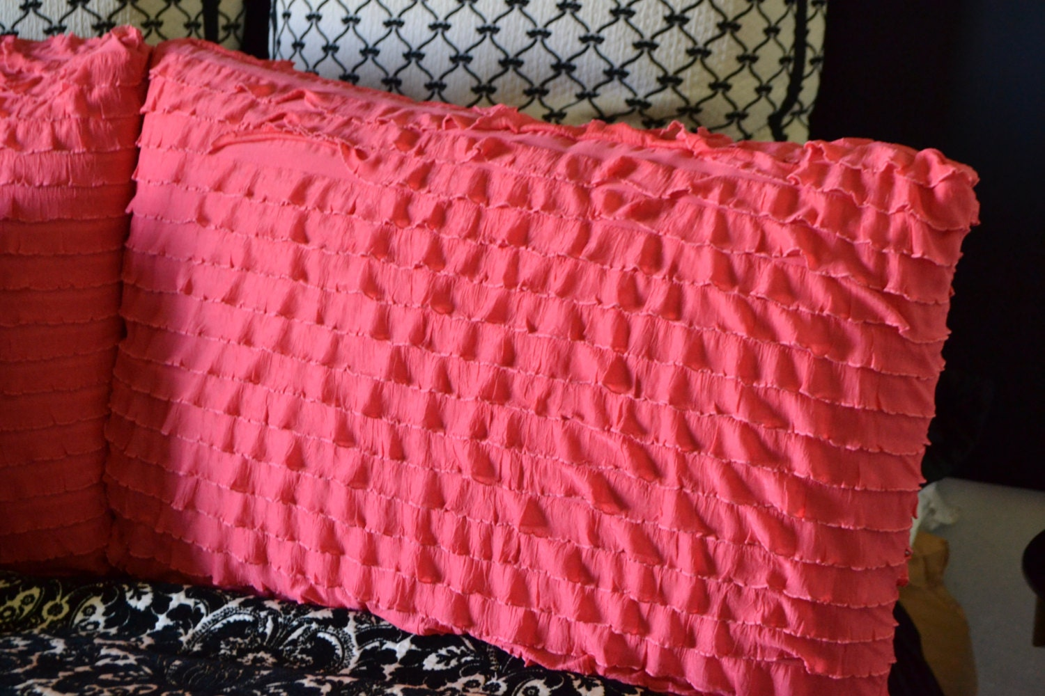 ruffle pillow sham standard size in coral by avisiontoremember. Black Bedroom Furniture Sets. Home Design Ideas