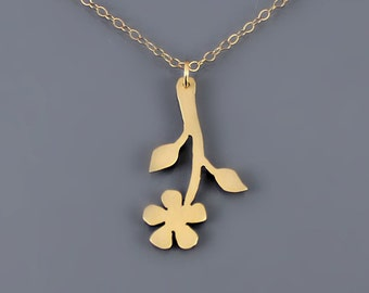 14K Gold Flower Necklace - 14k solid gold pendant - spring nature jewelry
