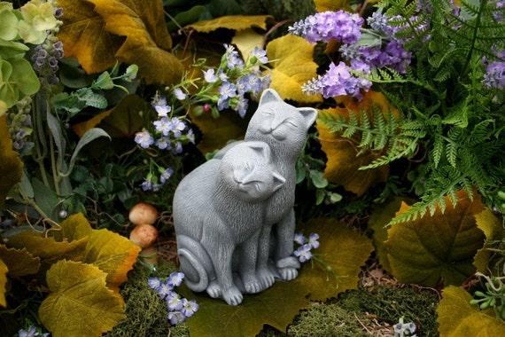 Cat Statue Outdoor Garden Decor Concrete Cat Couple