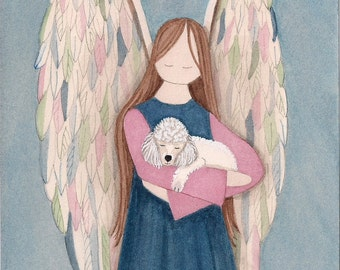 White poodle cradled by angel / Lynch signed folk art print