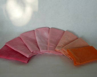 hand dyed cotton fat quarters, 8 fire red to deep orange, ombre
