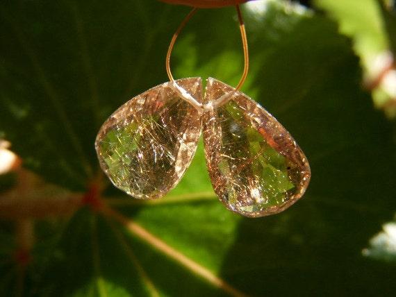 Copper Rutillated Quartz Drops - Pair - 10.5x17mm