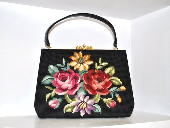40s 50s tapestry bag // french floral needlepoint // vintage 1940s purse