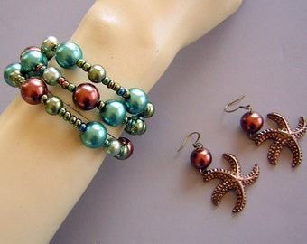 Wrap Bracelet Rich Earthy Baubles of Blue Green & Brown Glass Pearls - Triple Tiers of Color CLEARANCE
