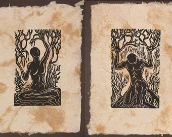 FRAMED Set of 2 Earth Nature Nordic Gods Woodcut Prints on Fiber Handmade Paper