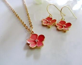 Flower Earrings, Peach Dangles, Flowergirl Jewelry, Gold Edge, Small Earrings, Earring Necklace Set, Coral Enamel, Bridesmaid Jewelry
