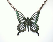 Fairy Butterfly Pendant Necklace-Green Patina- - SandraPennJewelry