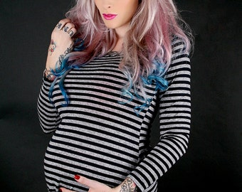 Pirate Brigade Grey and Black striped Alternative and Edgy maternity shirt from MamaSan Maternity Apparel