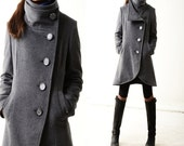 Missing you - warm quilted cashmere coat crystal buttoned / lined woolen jacket / gray woolen jacket / gray cashmere jacket(Y1225)