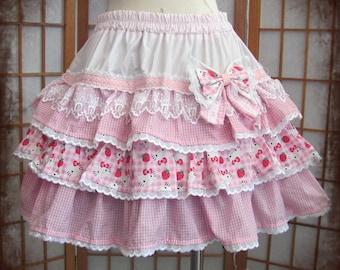 Pink gingham hello kitty skirt