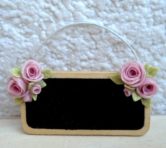 1/12TH scale -  shabby chic romantic blackboard with roses BY LORY