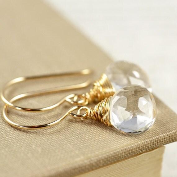RESERVED For Kat - White Topaz Drop Earrings, Gemstone Gold Earrings, Winter Earrings