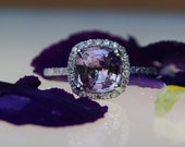 reserved -1.82ct Lavender violet cushion sapphire ring diamond ring engagement ring