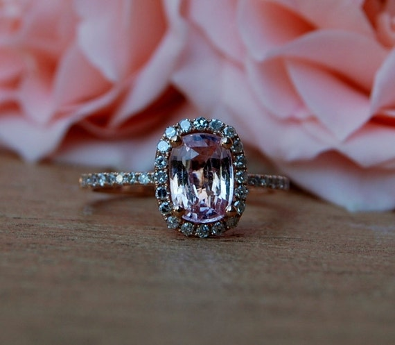 1.33ct Cushion Peach sapphire in 14k rose gold diamond ring engagement ring