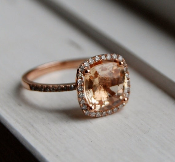 Reserved-2.84ct Square Cushion Peach Champagne Sapphire 14k