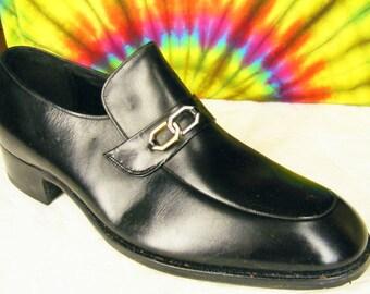 12 C mens vintage black FLORSHEIM leather loafers shoes NOS