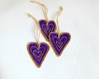 Heart shaped purple fabric ornament Valentines Christmas
