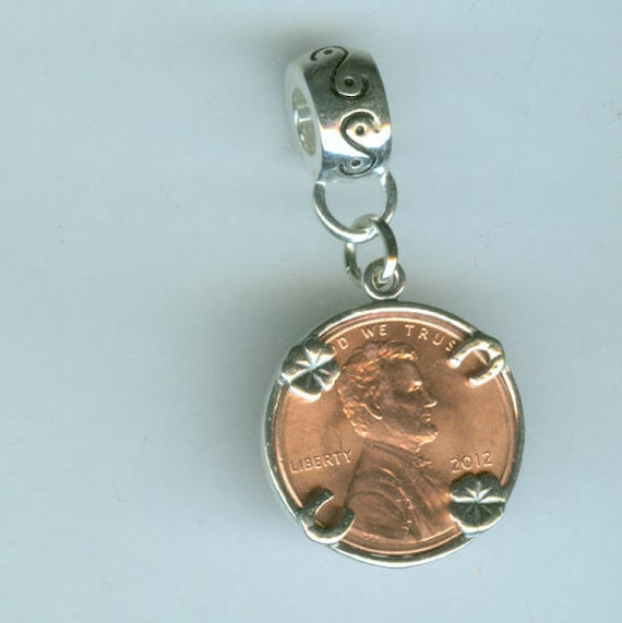 Name Brand Bracelets: Sterling Silver LUCKY PENNY Bead Charm For All Name Brand
