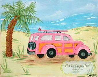 Set of Two Girls Aloha Pink Island Surf Woody Car Surfboard Kids Nursery Art Stretched Canvas 11x14