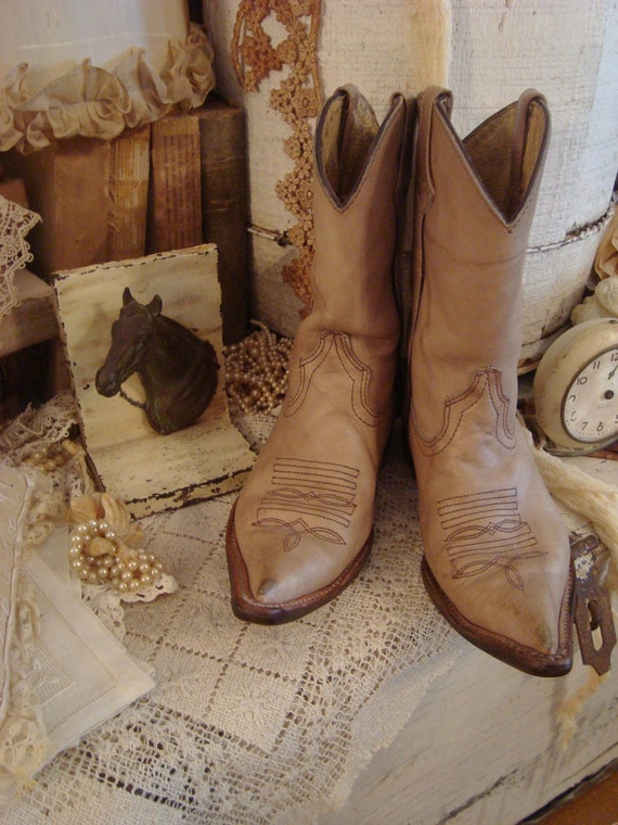 RESERVED 4 LLV Vintage Shabby Childs Cowboy Boots and Horse Bookend