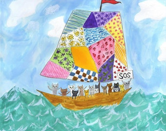Kittens at Sea. Limited edition print of an original watercolor painting by Vivienne Strauss.