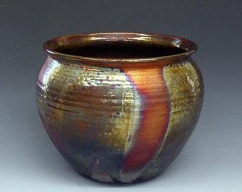 Raku Pot, raku pottery, Large, Copper, Gold Metallic, Iridescent Colors