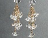 Herkimer Crystal Quartz Drop Earrings - Cluster Earrings