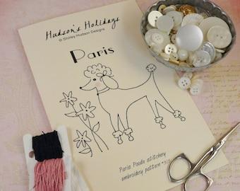 Paris Poodle puppy dog Stitchery Pattern PDF - embroidery French flower retro pink