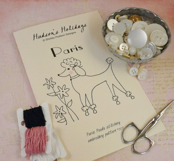 Paris Poodle puppy dog Stitchery Pattern PDF - embroidery French flower retro pink