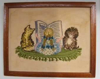 Vintage Needlework Girl Reading with dog and cat