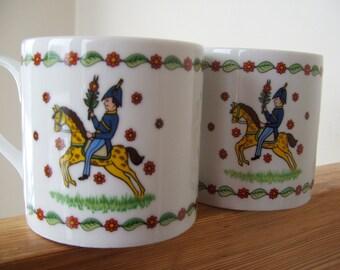 Pair of Vintage Gevalia Kaffe Mugs Swedish Seasons Summer