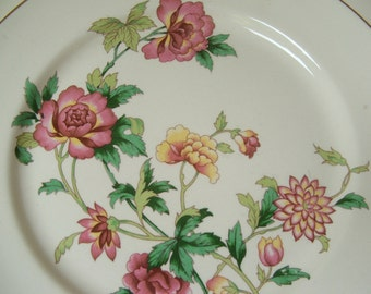 pretty floral plate vintage with tree peonies