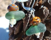 Moss Seaglass Dangle Earrings- Leverbacks