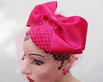 Pink Birdcage Veil, Giant Bow, Unique Bridal Accessory, Women's Hat, Fascinator Hot Pink, Batcakes Couture,