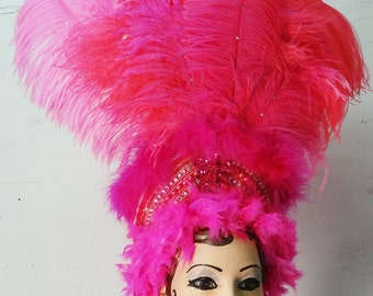 Hot Pink Feather Showgirl Head Dress, Costume Accessory, Head Dress, Head Piece, Ostrich Feather, Any Color, Custom, Batcakes Couture