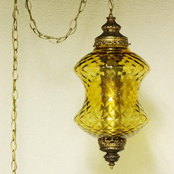 Vintage Hanging Light Hanging Lamp Swag Lamp Yellow Gold