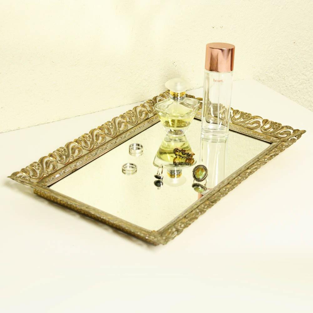 Vintage mirror tray jewelry tray vanity tray wall mirror for Mirrored bathroom tray