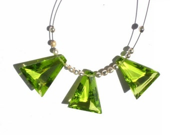 3 Piece Set - AAA Peridot Quartz  Faceted Fancy Briolettes Matched Pair and a focal pendant Size- 15.5x13.5mm approx