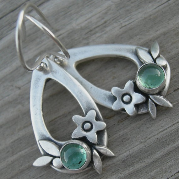 Summer Happiness Green Verdilite Tourmaline Sterling Silver Earrings PMC Artisan Jewelry