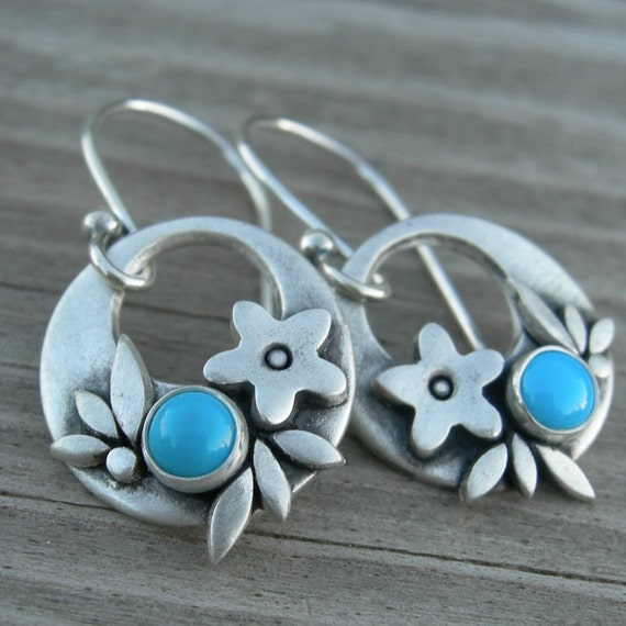 SHIPS IMMEDIATELY Summer Happiness Turquoise Sterling Silver Earrings PMC Artisan Jewelry