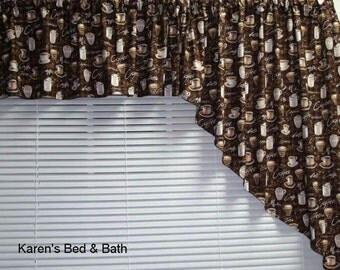Coffee Java  3pc Kitchen Cup Brown Diner Curtain Swag Valance Set