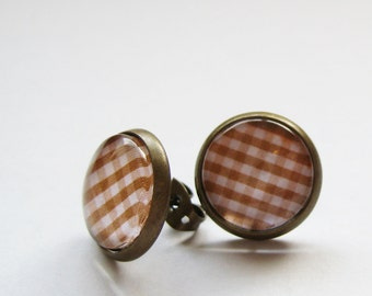 Brown Plaid Antique Brass Studs - Post Earrings