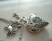 Little Mermaid Heart Pocket Watch Necklace with Nautical Charms
