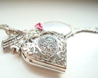 Beauty and the Beast Heart Pocket Watch Necklace